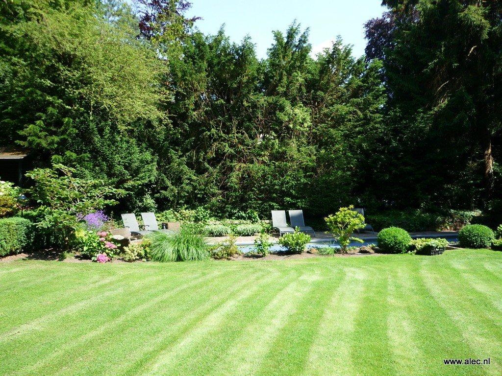Grote moderne tuin met zwembad - Tuin met zwembad design ...