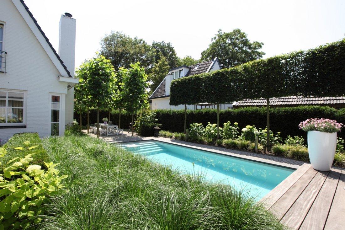 Moderne tuin met zwembad en koivijver - Tuin exterieur ontwerp ...