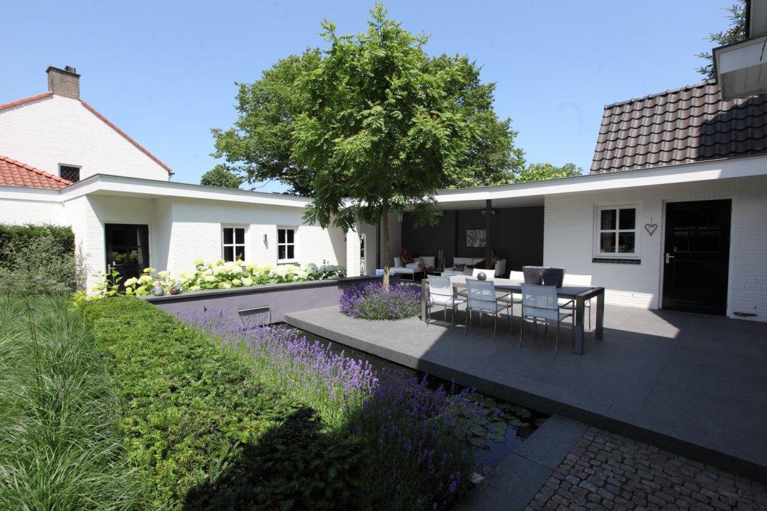 Moderne tuin met zwembad en koivijver with moderne tuin for Afmetingen zwembad tuin