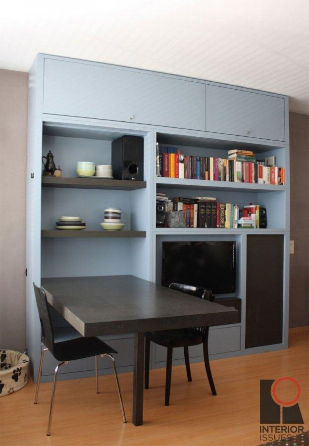 Wandkast met opklapbare tafel opbergvak televisie en for Opklapbare tafel