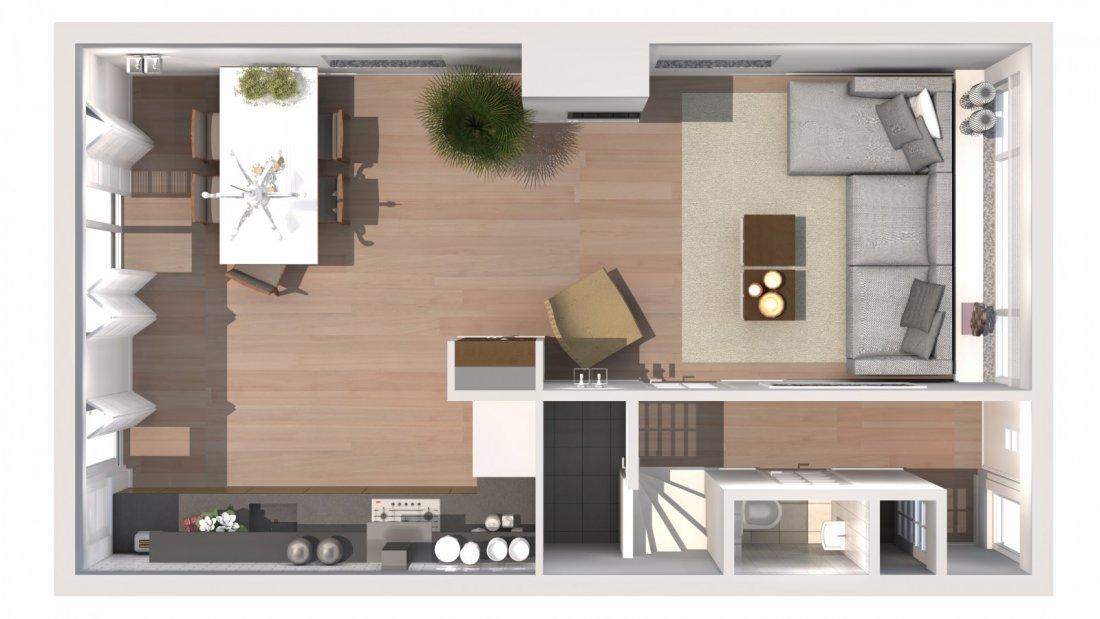 Impressie van een modern woonkamer - walhalla.com
