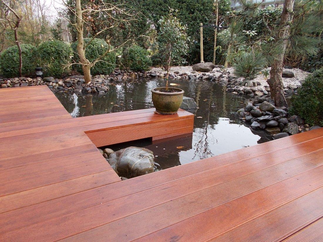 Japanse tuin met vlonders en vijver for Tuin en vijver